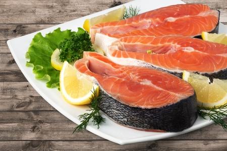 seafood dinner: Salmon, Seafood, Prepared Fish.