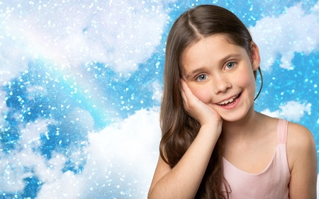 southern european descent: Child, Little Girls, Smiling.