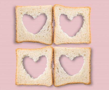 love shape: Bread, Heart Shape, Food. Stock Photo