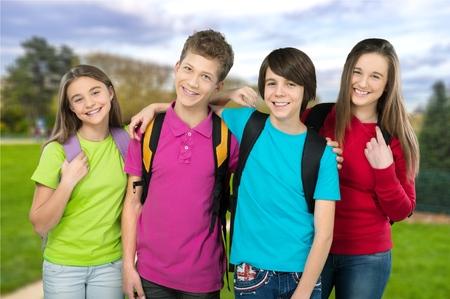 school kids: School kids, back, grade. Stock Photo