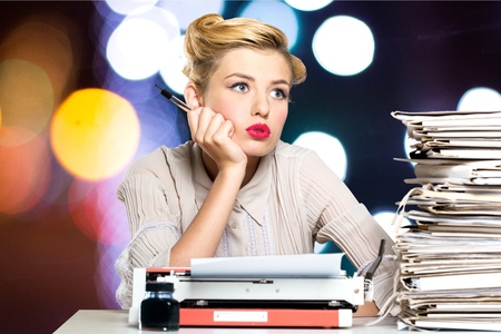to the secretary: Secretary, old fashioned, desk. Stock Photo