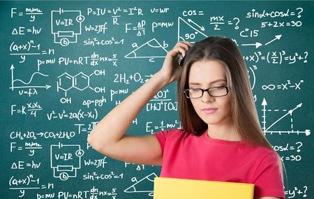 algebra: University student, chemistry, glasses.