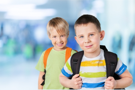 School kids, back, group.