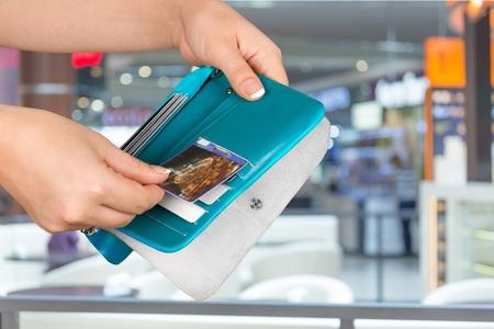 paying: Credit Card, Wallet, Paying. Stock Photo