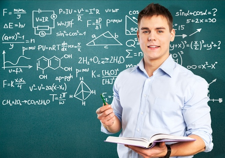 finance problems: Teacher, blackboard, board. Stock Photo