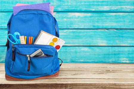 stationery: Backpack, school, bag. Stock Photo