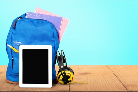 back to school supplies: Backpack, Education, Back to School. Stock Photo