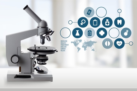 Microscope, Science, Healthcare And Medicine.
