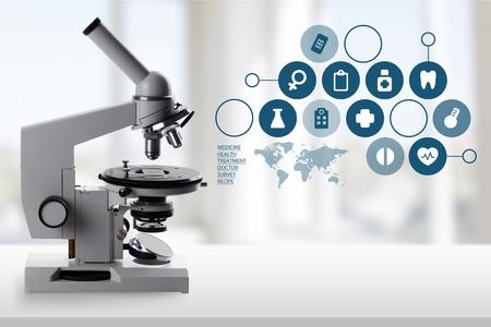 Mikroskop, Wissenschaft, Gesundheitswesen und Medizin. Standard-Bild