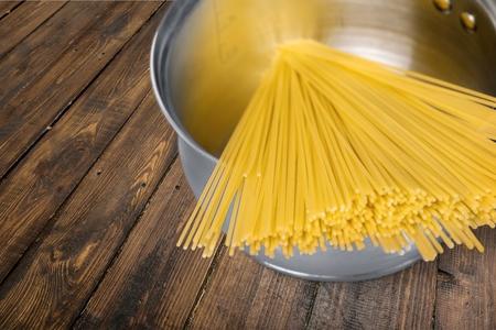 upperdeck view: Pasta, Spaghetti, Cooking. Stock Photo