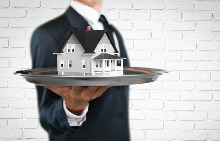 investment concept: Real estate, investment concept, tray.