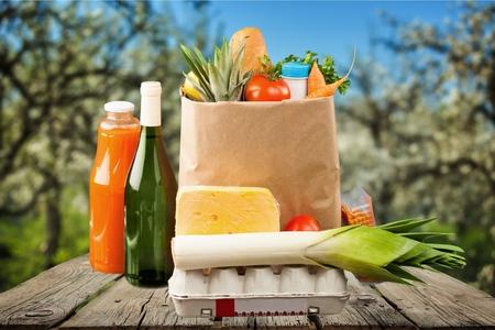 apple paper bag: Groceries, Paper Bag, Bag.
