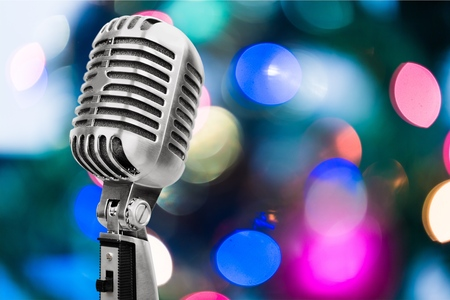 microphones: Microphone, mic, silver. Stock Photo