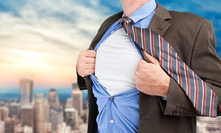 fully unbuttoned: Superhero, Heroes, T-Shirt. Stock Photo