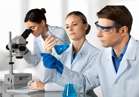 a medical examination: Laboratory, Chemistry, Chemist.