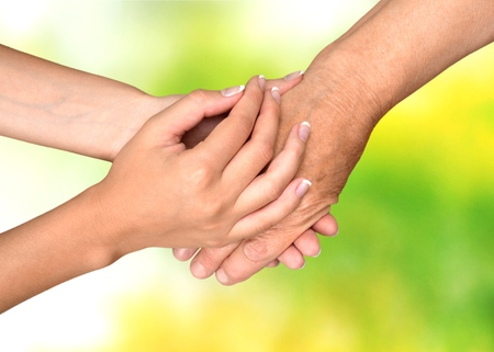 80 plus years: Human Hand, Care, Nursing Home. Stock Photo