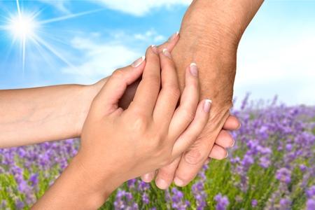 80 plus adult: Human Hand, Care, Nursing Home. Stock Photo