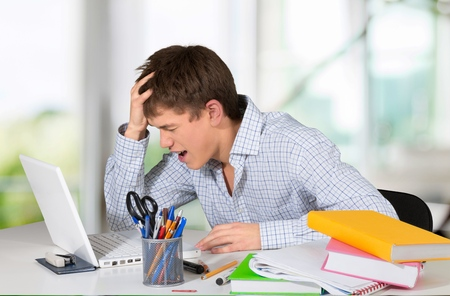 emotional stress: Emotional Stress, Computer, Student. Stock Photo