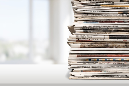 Newspaper, Stack, Print Media. Stok Fotoğraf - 43290446