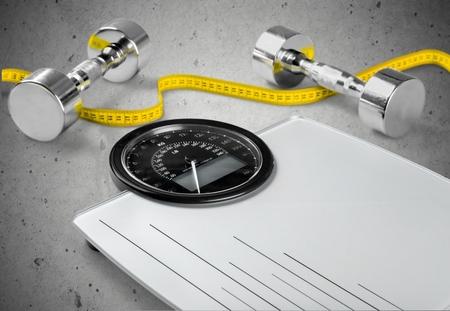 dieting: Uitoefenen, Afvallen, gezonde levensstijl. Stockfoto
