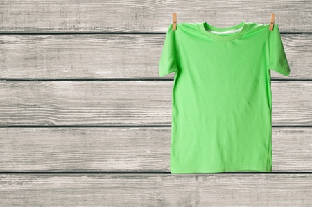 wet clothes: T-Shirt. Stock Photo