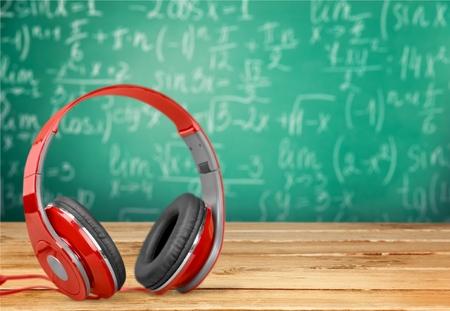 ear phones: Head, phones, red.