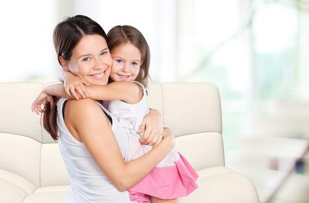 mum and daughter: Mother hug child.