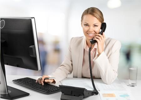 telephone: Telephone, Women, Office. Stock Photo