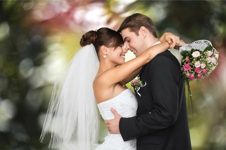 結婚式: 結婚式、花嫁、新郎。