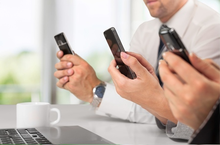 text messaging: Mobile Phone, Text Messaging, Telephone. Stock Photo