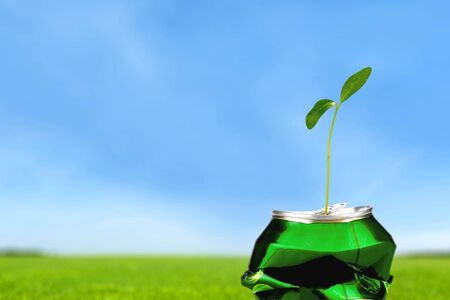 crushed aluminum cans: Recycling, Recycling Symbol, Garbage. Stock Photo