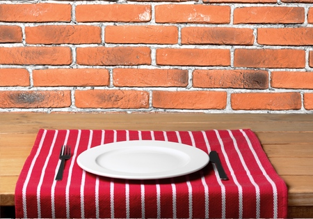 plate of food: Plate, food, wall. Stock Photo