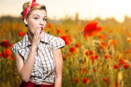 whispering: Model, woman, whispering.