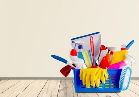 Reinigung, Reinigungsgeräte, Zimmermädchen. Standard-Bild - 43291188