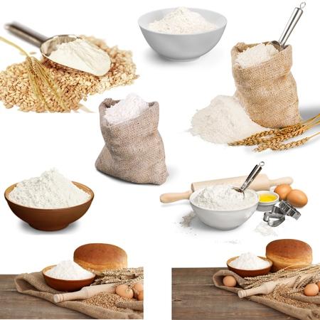 wheat flour: Wheat, mill, flour. Stock Photo