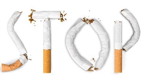stop smoking: Smoke, stop, quit. Stock Photo