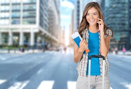 business travel: Women, Tourist, Business Travel. Stock Photo