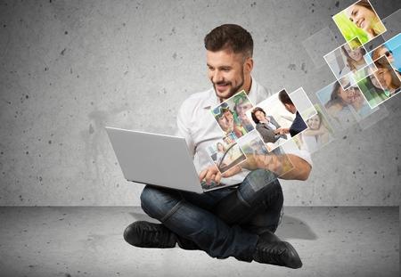 asian man laptop: Social, connection, laptop.