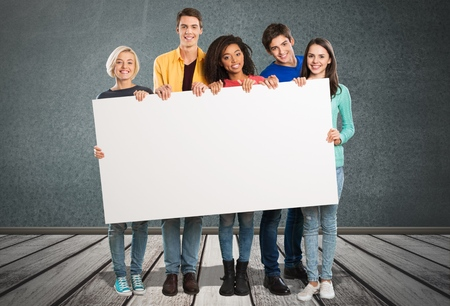 four person only: Banner, Student, College Student. Stock Photo