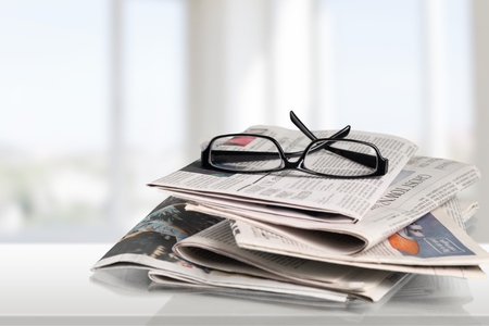 actuality: Newspaper, The Media, Glasses.