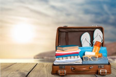 Travel, traveler, pack. Standard-Bild