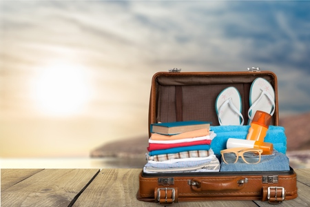 Travel, traveler, pack. Stock Photo