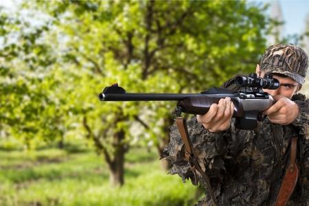 Hunter, Caza, Rifle. Foto de archivo