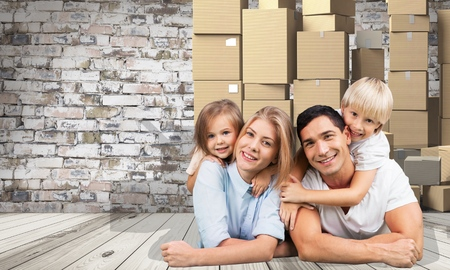 family moving house: Family, moving, house. Stock Photo