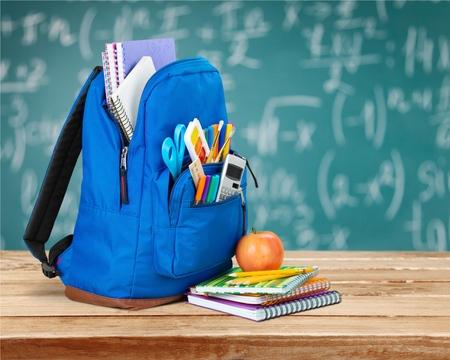 fournitures scolaires: �cole, sac � dos, �ducatif. Banque d'images