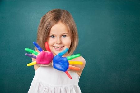 maquillaje infantil: Kid, pinturas, holi. Foto de archivo