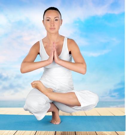 buena postura: Yoga, Equilibrio, Mujeres.