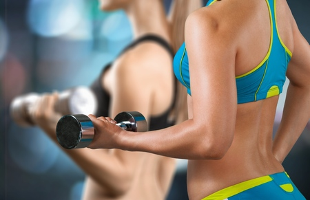 gym: Exercising, Gym, Women. Stock Photo