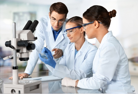laboratory research: Laboratory, Biotechnology, Research. Stock Photo