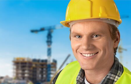 expressing positivity: Manual Worker, Construction Worker, Construction. Stock Photo